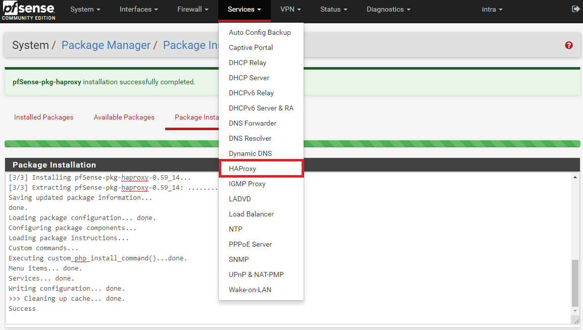 pfSense HAProxy Menue